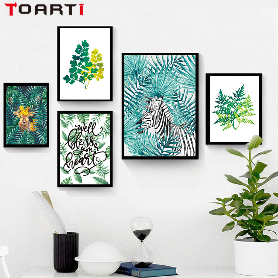Nordic Natural Art Animals Plant Tropical Leaf Flower
