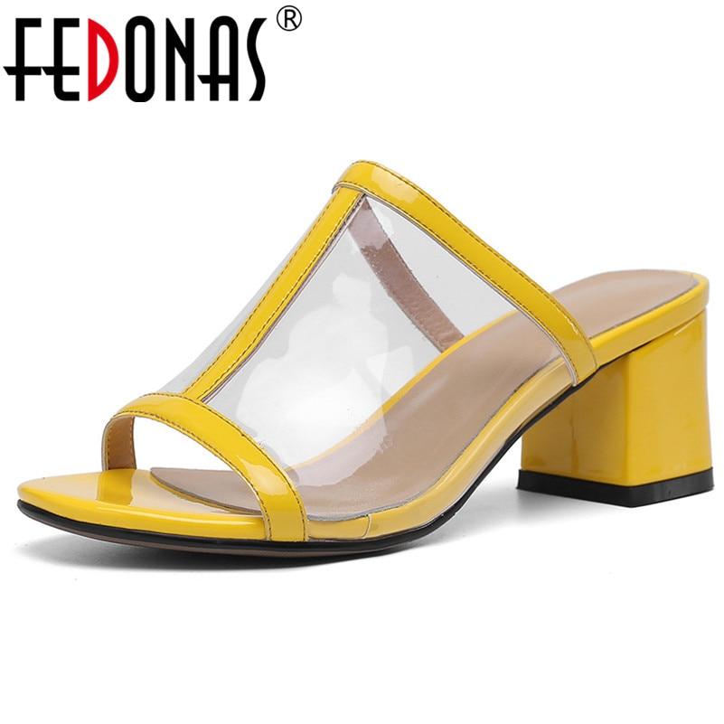 High gelb Frau Schuhe Sommer Leder Pu Fahion Heels Kuh Silber Elegante Sexy Party Fedonas Und Prom Sandalen Kombination Lather Arbeits HqF1x8w