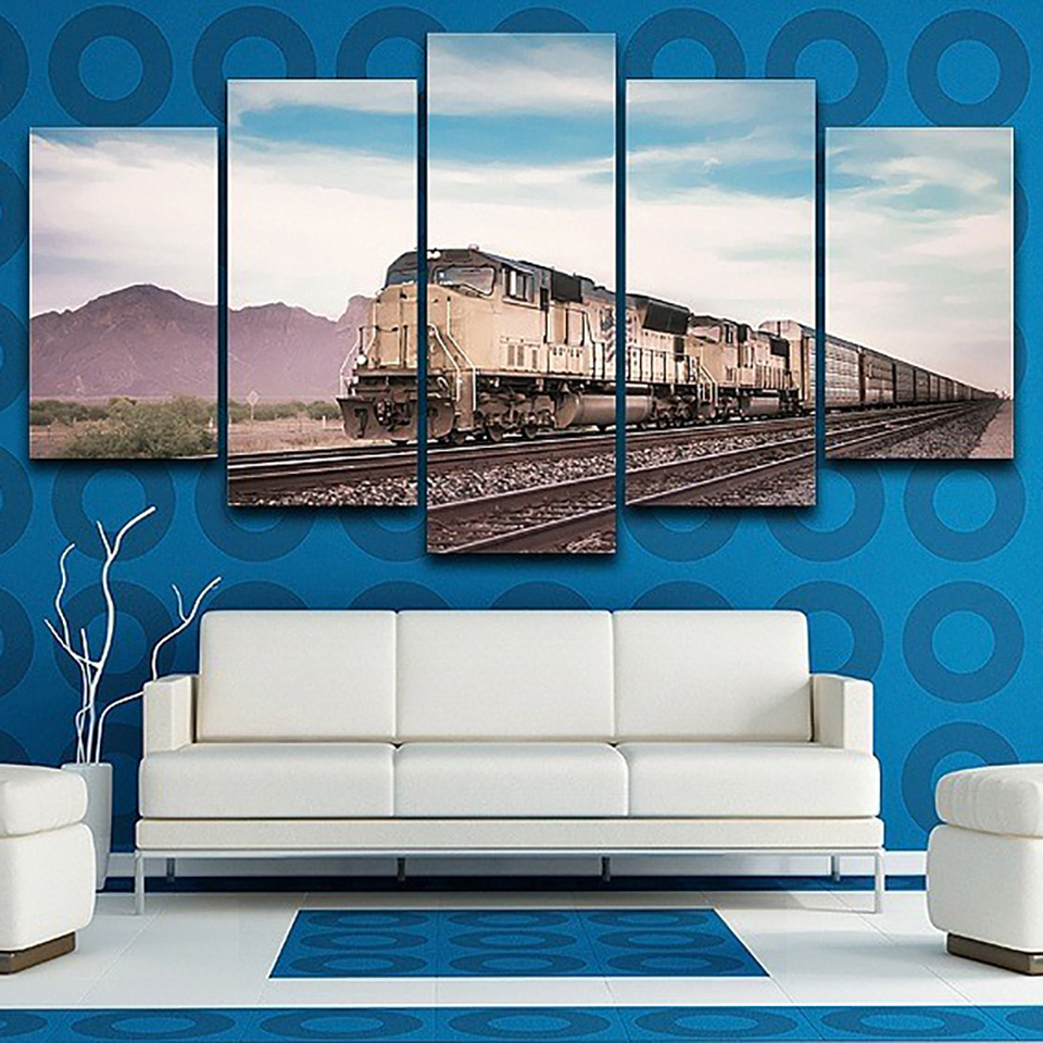 Modular Posters Tableau Wall Art Pictures 5 Panel Train Railway Landscape Home Decoration Modern HD Printed Paintings Canvas