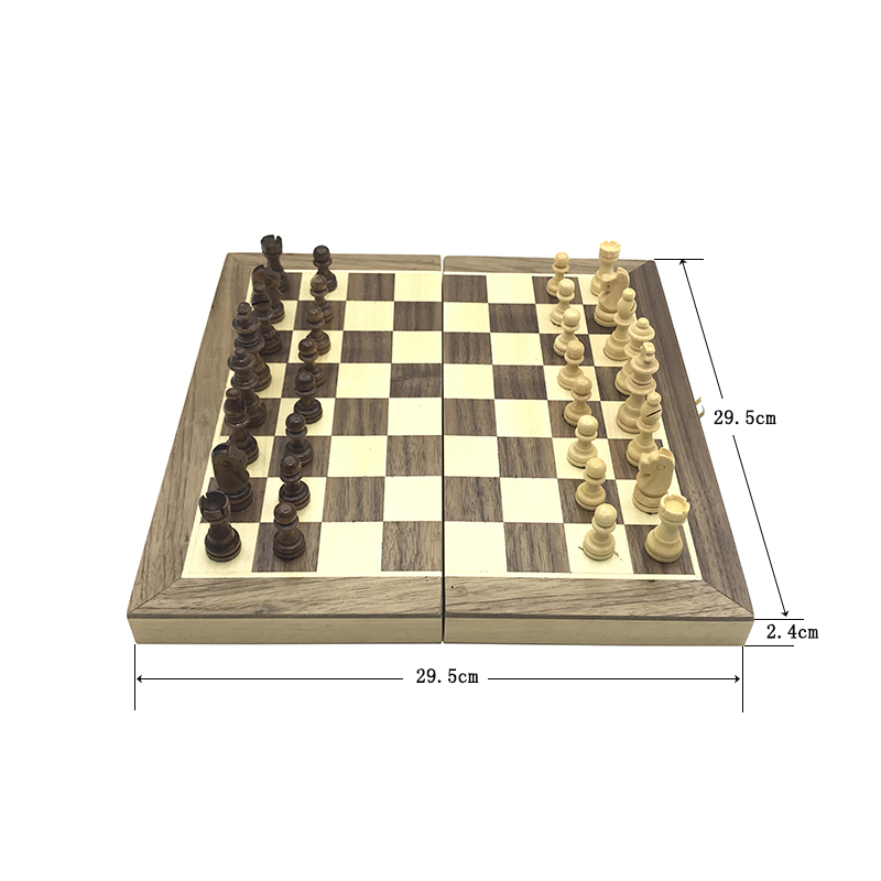 Yernea New Magnetic Chess Games Wooden Chessboard Outdoor Chess Set Games Solid Wood Chess Pieces Magnetic Folding Chessboard 2