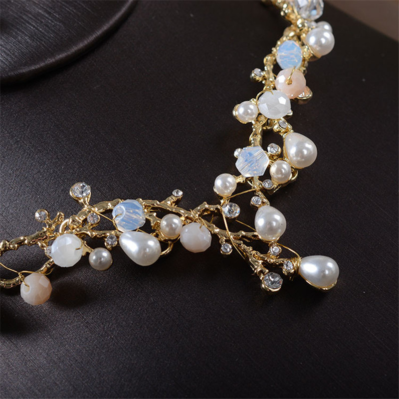set and media jewelry pearl earrings vine wedding bridal necklace crystal