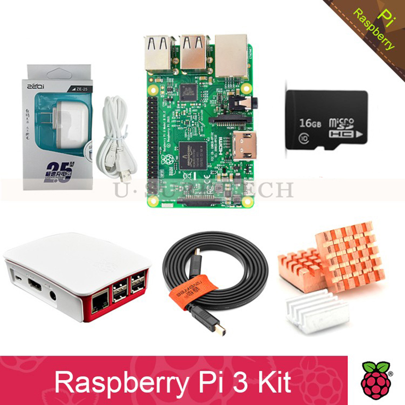 Raspberry Pi 3 Model B board Pi3 kit+power supply 2.5A(EU OR US)+heat sink+ case+16GB TF Card xilinx fpga development board xilinx spartan 3e xc3s250e evaluation board kit lcd1602 lcd12864 12 modules open3s250e package b