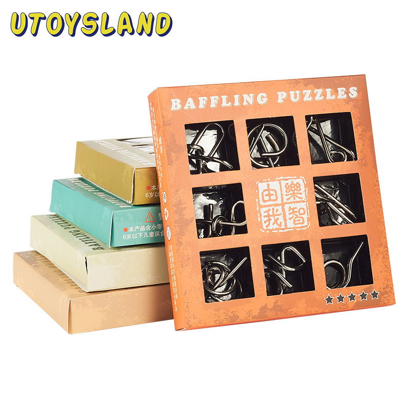 UTOYSLAND 9pcs/set Metal Puzzle Wire IQ Mind Brain Teaser Puzzle Kids Game Toys for Children Adults Baby Montessori Toys puzzle secret box iq mind wooden magic box teaser game adults gifts creative educational toys montessori kong ming lock lu ban