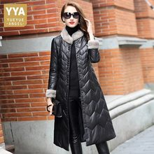 Luxury 100% Real Leather Long Overcoat Women Top Office Stand Collar Sheepskin Mink Fur Collar Down Jackets Winter Warm Outwear(China)