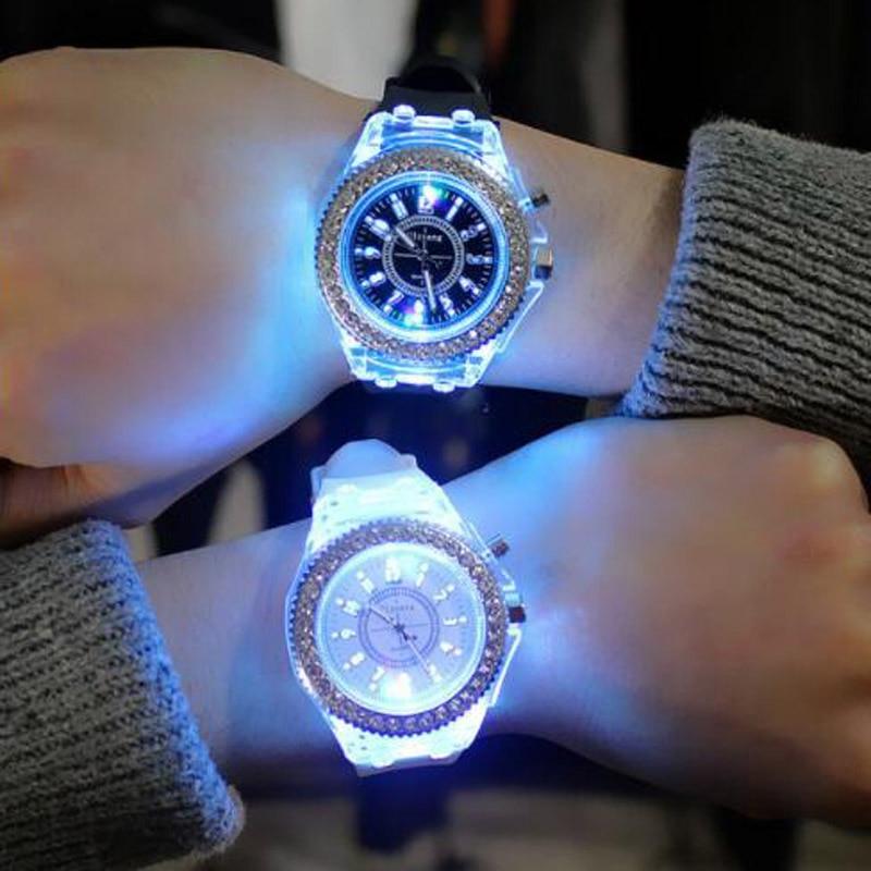 Silicone LED Luminous Fashion Ladies Outdoor Watch Women's Men Colorful Sports WristWatches Children'sWrist Relogios Masculino