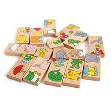 15PCS Montessori Wood Animal Dominoes Solitaire Domino Wooden Kids Toys Educational Blocks Early Learning Toys Gift W124