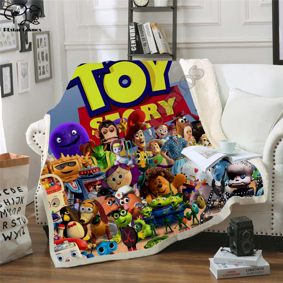 Forky nouvelle histoire de jouets 4 les jouets de marche Sherif Woody couverture impression 3D Sherpa couverture sur lit Textiles de maison style onirique-3