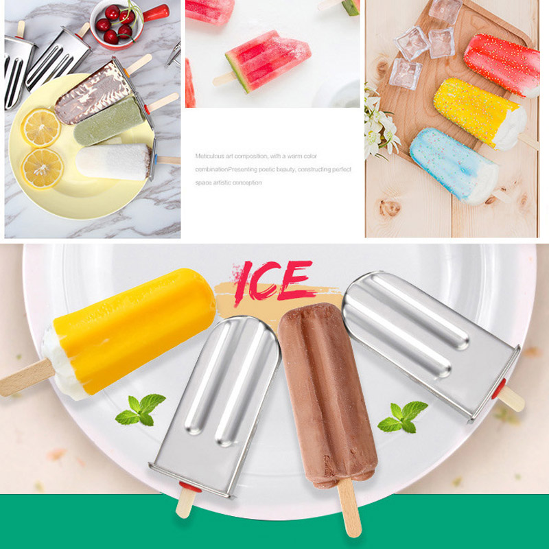 Stainless Steel DIY Ice Lolly Stick Maker Mold Ice Cream Moulds Reusable Tool can CSV