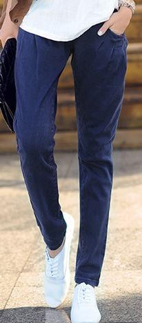 Новинка; Хлопковые Штаны-шаровары с эластичной резинкой на талии; джинсы; повседневные брюки; женские узкие брюки ярких цветов - Цвет: Синий