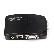 TV RCA Composite S-Video In AV to VGA PC Mac Lcd Out Converter Adapter Box hot selling rgb scart to composite rca s video av tv audio adapter brand new free shipping