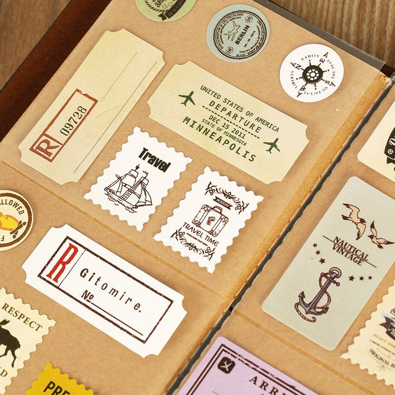 Vintage Stamps Decorative Stickers Diary Scrapbooking Sealig Sticker DIY Retro Paper Sticker Stationery Gift For Kids spring and fall leaves shape pvc environmental stickers decorative diy scrapbooking keyboard personal diary stationery stickers