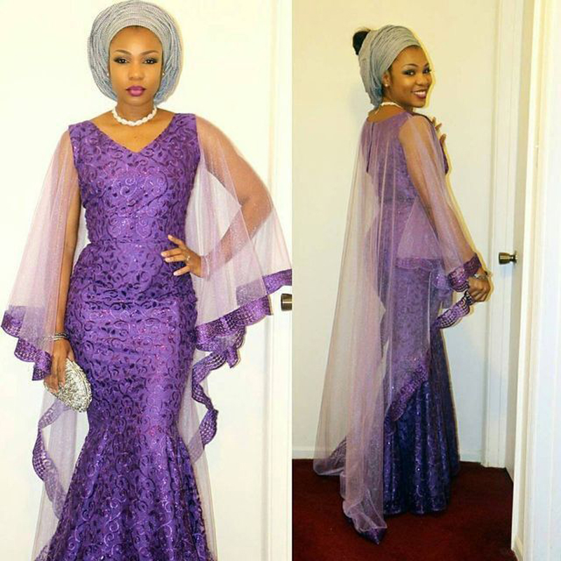 0c93bf0697b Fashion Purple Long Evening Dress With Cap Long African Nigerian Saudi  Arabia Lace Formal Gowns Evening