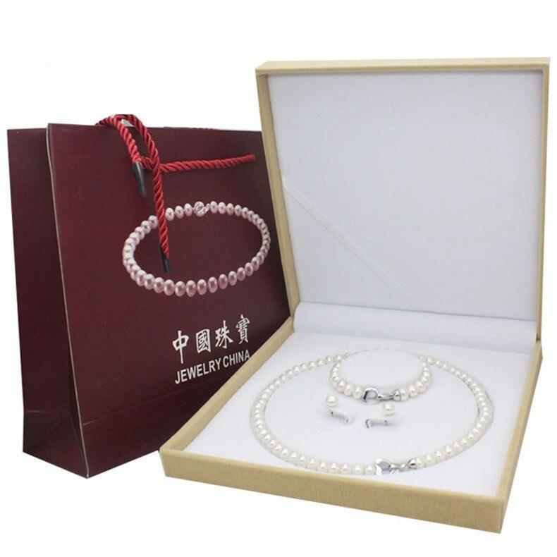 100% véritables ensembles de bijoux en perles d'eau douce naturelles 925 collier en argent Sterling boucles d'oreilles Bracelet pour femmes accessoires de mariage