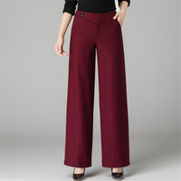 High Waist 2018 Fashion Autumn Woolen Wide Leg Pants Loose Solid Color Women'S Casual Elegant Thickening Trousers Ds5057