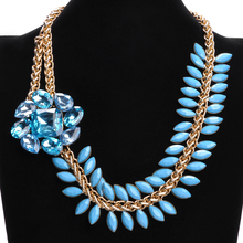 Fashion Golden Chain Olive branch Flower Pink Resin Chunky Bib Pendant Necklace Halloween Fantasy Jewelry Box Offer Options
