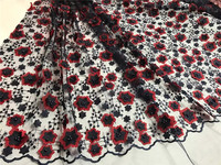 Wholesale And Retail 3D Black Red Transparent Chiffon Beaded Embroidery Swiss Lace Fabric Jy 3 7