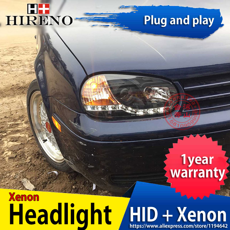 Hireno Headlamp for 2003-2009 Volkswagen Golf 4 Golf4 Headlight Headlight Assembly LED DRL Angel Lens Double Beam HID Xenon 2pcs hireno car styling headlamp for 2003 2007 honda accord headlight assembly led drl angel lens double beam hid xenon 2pcs