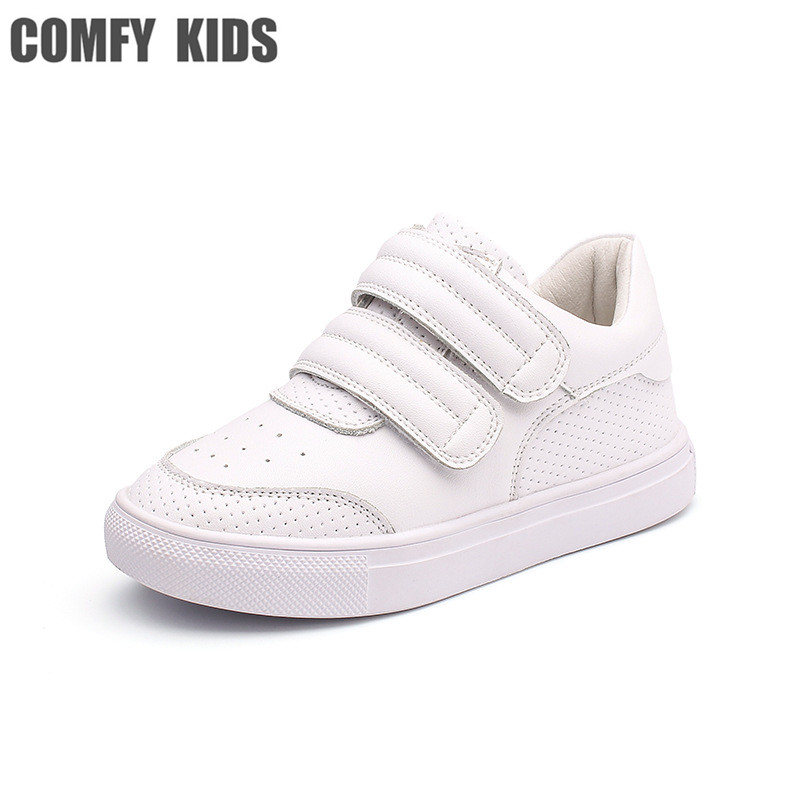Comfy Kids Genuine Leather 1-9 Years Old Child Sneakers Shoe For Girls Boys Genuine Leather Casual Sneakers Shoes  SIZE 21-37
