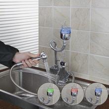 Yanksmart Цветок Новый Дизайн светодиодные Вытяните кухонный кран Chrome бассейна Раковина на бортике torneira Cozinha 92347-2/4 смесители