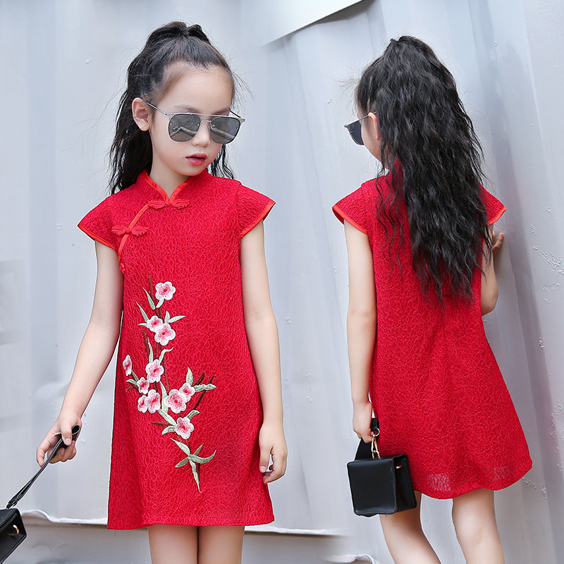 2017 summer teens cute dress cotton lace cheongsam plum embroidery retro Chinese wind red party dress girl dancing dress 3-14Y 1 national wind embroidery lace up neck dress