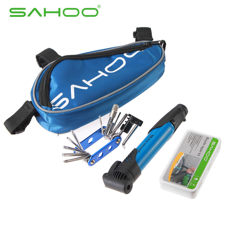 SAHOO 15 in 1 Bicycle Repair Tools Kit Biycle Cycling Puncture Bike Multi Function Tool Repair Kit Set With Pouch