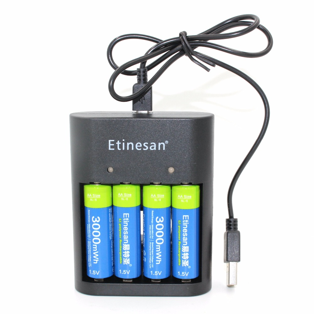 4pcs/lot Etinesan 3000mWh AA battery , Li-polymer Li-Po Lithium Lion Rechargeable Battery with USB 4slots charger 1 5m 3m black high speed data transfer usb 2 0 male to male scanner printer cable sync data charging wire cord for dell hp canon