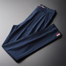 Minglu Pantalones Lyocell para hombre, pantalones pitillo para hombres, de negocios, informales, con borde de cinta, alta calidad, para verano, fino suave