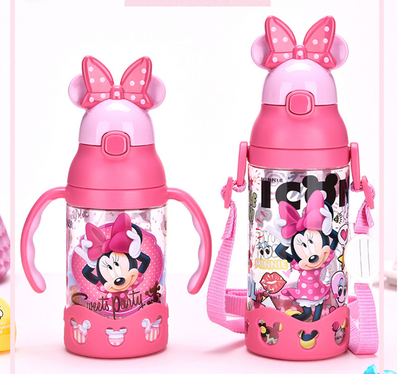 Disney Children Press The CupS Handle Baby With Straw Leak-proof Tritan Sports Bottles Flip Student Resistance To Falling Kettle