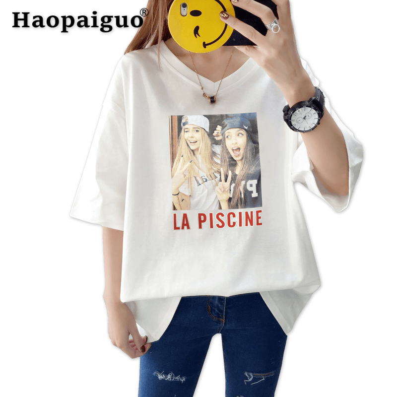 M-XXL Plus Size Print Girl Casual Black Women T-Shirt Summer Short Sleeve Casual Round Neck Cheap Clothes China Top Mode Femme