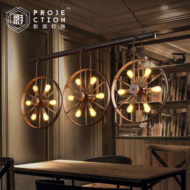 LOFT American vintage industrial wrought iron circular wheel pendant lamp for bar dining room цена