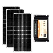 Monocrystalline Solar Panel 12v 100w 3Pcs Photovatics Panels 300w 36v Solar Battery Charger PWM Charge Controller 12v/24v 20A цена
