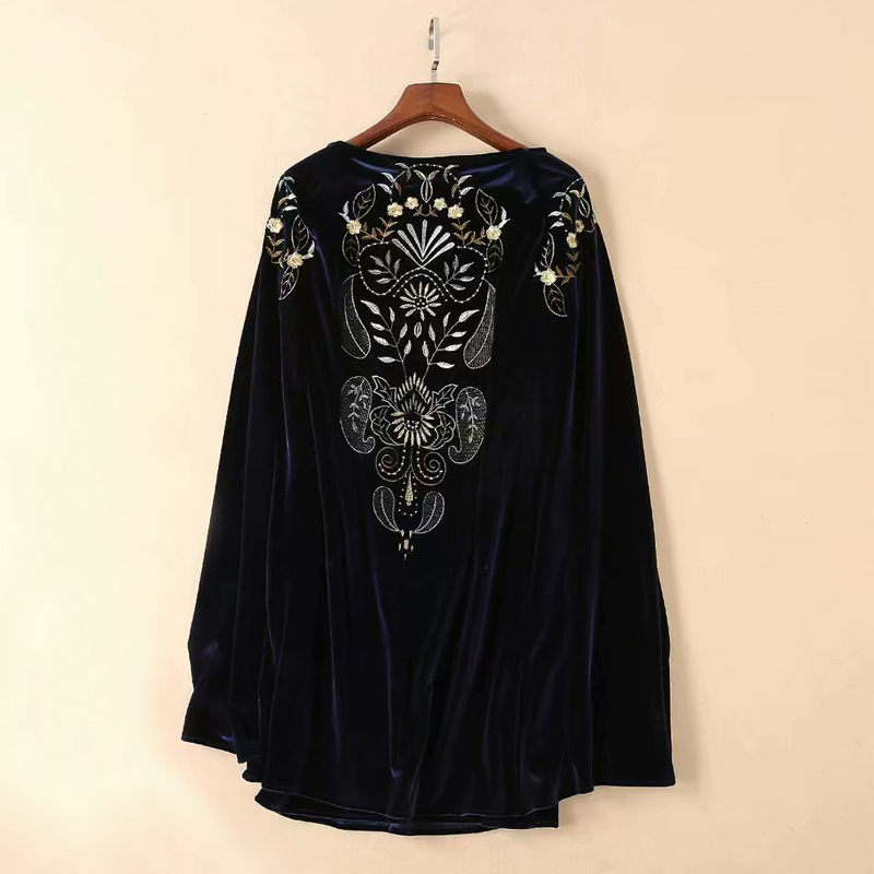 Automne Gratuite Femmes Hiver Livraison Broderie Rétro Longues Vintage Manches Cape Piste Manteau À Robe Noir Velours Top Vêtements vAPPqac