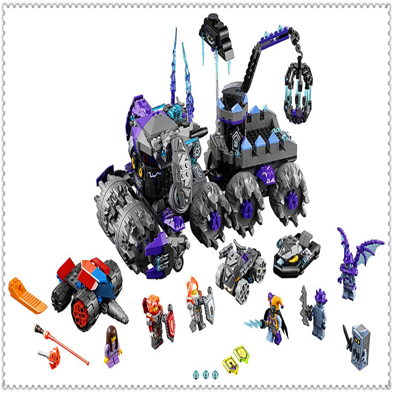 878Pcs Nexo Knights Jestro's Headquarter Model Building Block Toys BELA 10597 Educational Gift For Children Compatible Legoe