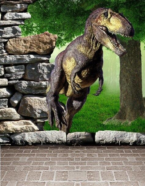 215CM*150CM fundo Dinosaur rock trees Jurassic World 3D baby photography backdrop background LK 002