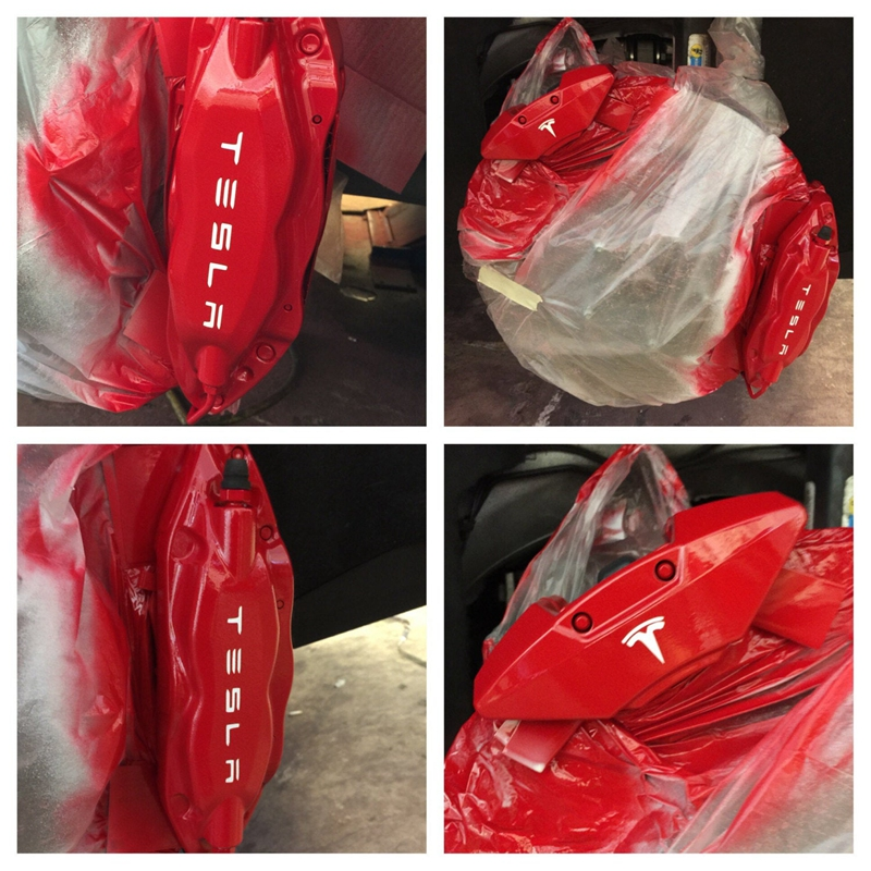 For Tesla Brake Caliper Vinyl Art Sticker Car Window Decor , For Tesla Name With Small T Logo Removable Decals Decoration