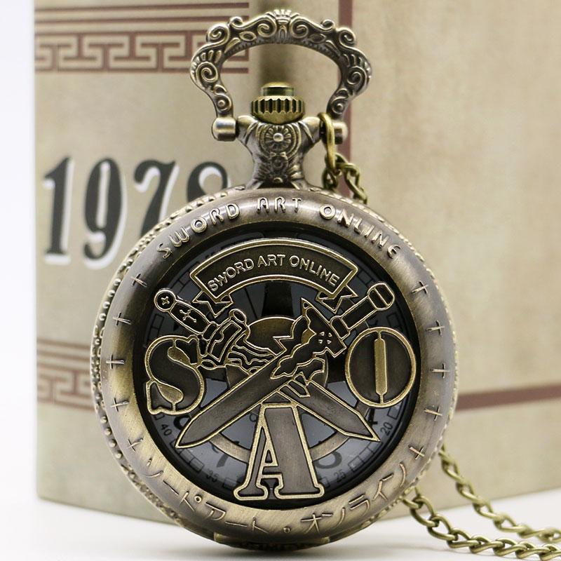 Antique  Sword Art Online Bronze Pocket Watch Vintage Necklace Pendant Chain Quartz Unisex Gifts