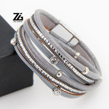 ZG 38cm Long Crystal Bracelet for Women in 3 Colors with High Quality Magnetic Design Leather Jewlery