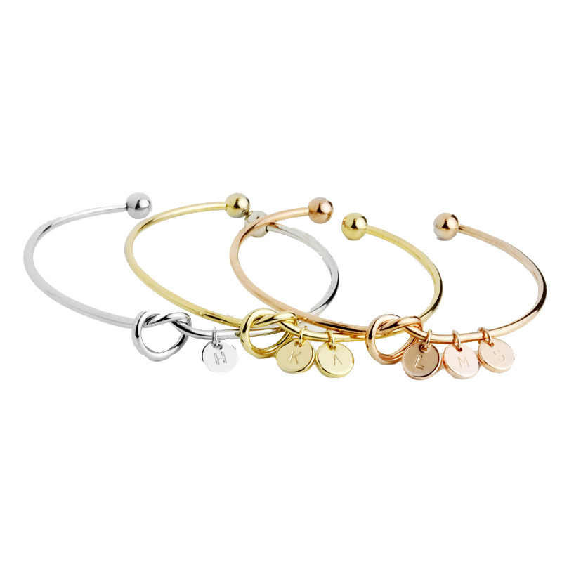 Customized Personalized A-Z Disc Initial Letter Knot Bangle Bracelet for Women Girl Silver/ Gold/ Rose Gold Color Initial Bangle