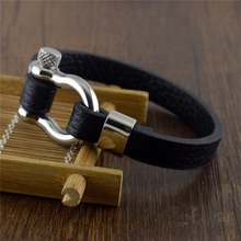 Mens Bracelets Stainless Steel Screw Anchor Shackles Black Leather Bracelet Surf Nautical Sailor Men Wristband Fashion Jewelry