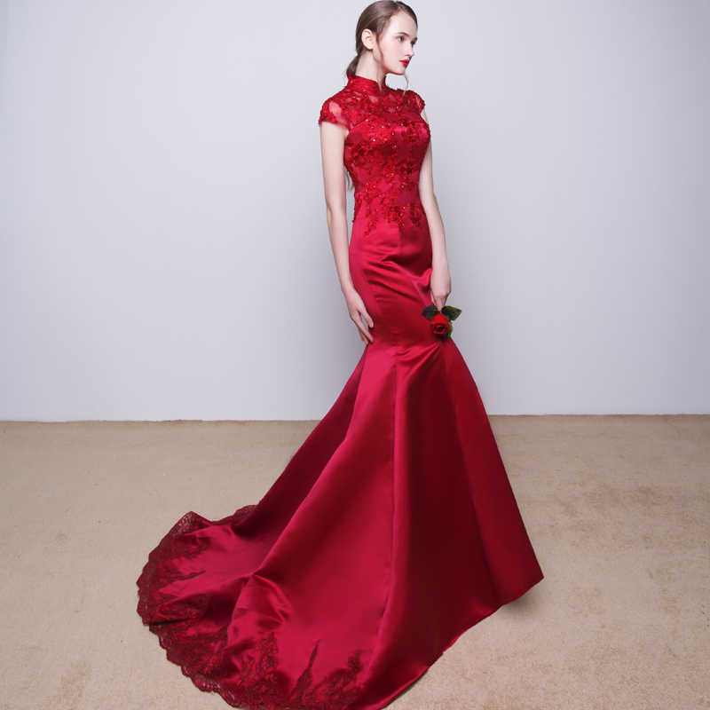 JaneVini 2018 burgundii satynowe sukienki dla matki panny młodej wysoka Neck koronki aplikacja Sequined Mermaid długie suknie wieczorowe Sweep pociąg