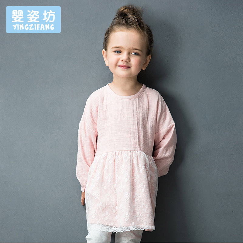 Real Limited Full Patchwork Yingzifang Girls' Casual Autumn Long Sleeve Dresses O-neck Girls Lace Linen Sleeved Dress T-shirt casual skew neck long sleeve mini tight dress