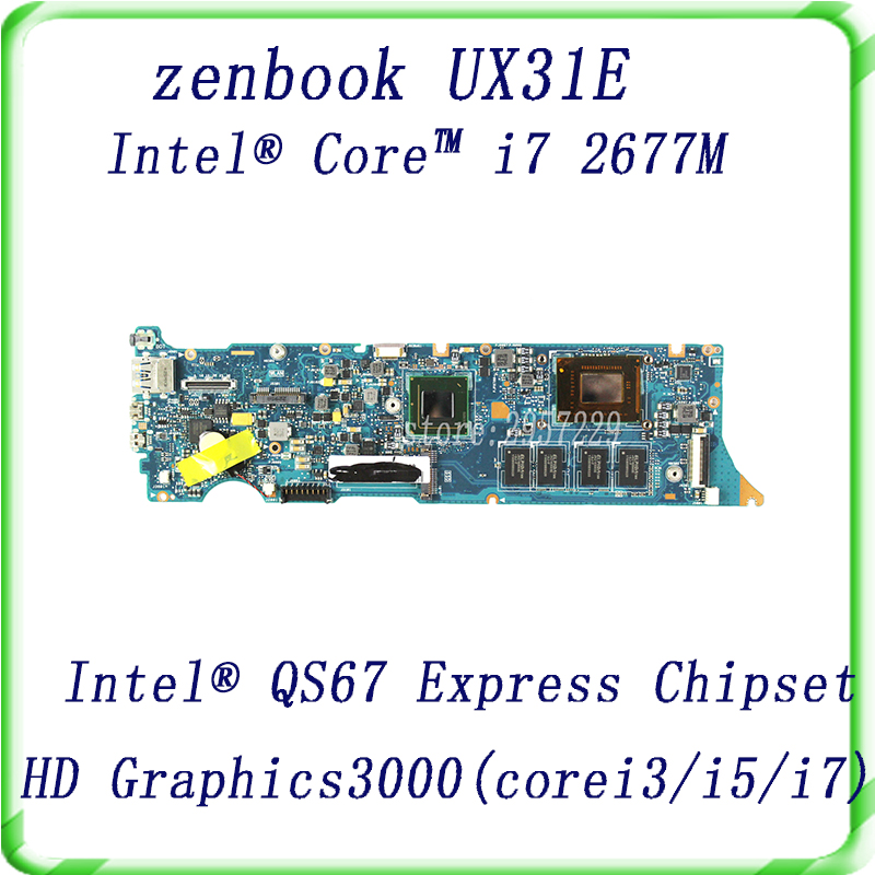 For Asus Zenbook UX31E motherboard with i7 2677M CPU HD Graphics 3000 QS67 SR0D2 Tested Free