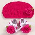 Девушки цветка девочка обувь вязание крючком фотография опоры набор, ручной работы бутик малыша девушка сапоги, Кроватки детские prewalker обувь