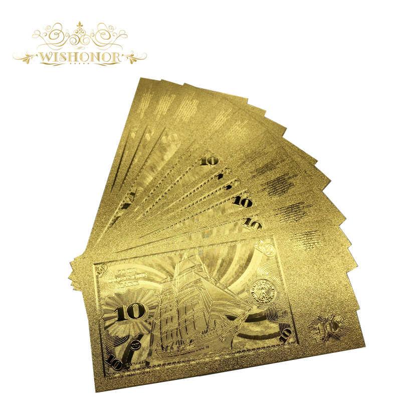 10 шт./партия Новый дизайн Германия 10 Марка банкноты в 24 карат золотой фольги бумажные деньги для бизнес-подарков