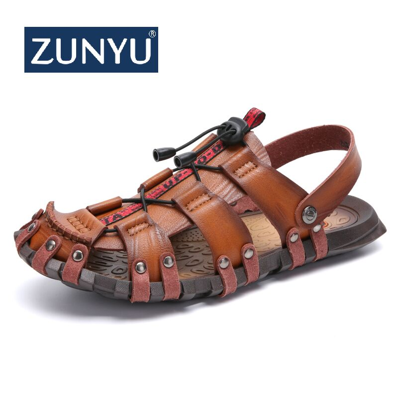 ZUNYU New Summer Men Sandals Breathable Leather Men Beach Sandals Brand Men Casual Shoes Comfortable Slip-on Casual Cheap Sandal(China)