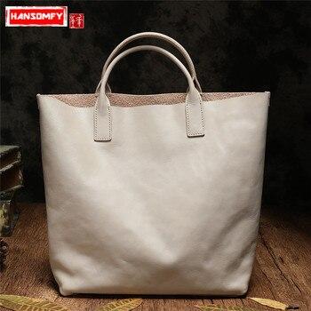Genuine Leather Women handbag female 2018 new top layer cowhide shoulder bag wild big simple tide Korean version of the tote bag