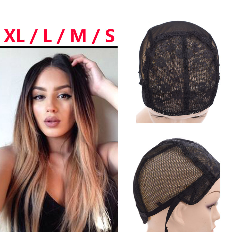 S/M/L/XL Adjustable Straps Wig Caps With Double Net Making Wigs Black Weaving Natural Human Hair Mesh Cap For Lace Wig Caps