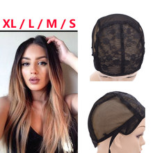S/M/L/XL Adjustable Straps Wig Caps with Double Net Making Wigs Black Weaving Natural Human Hair Mesh Cap For Lace Wig Caps(China)