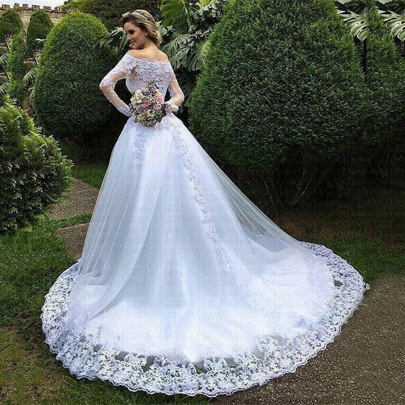 Image 2 - 2019 Vestidos De Noiva Princess Wedding Dresses Garden Off Shoulder Sheer Long Sleeve Beaded Arabic Robe De Mariage Bridal Gown-in Wedding Dresses from Weddings & Events