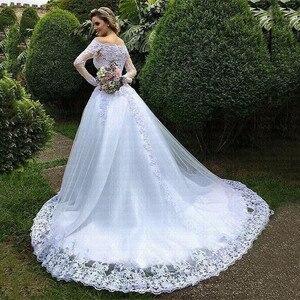 Image 2 - Vestido De Noiva Prinses Trouwjurken 2020 Tuin Off Shoulder Sheer Lange Mouwen Kralen Arabisch Robe De Mariage Bruidsjurk